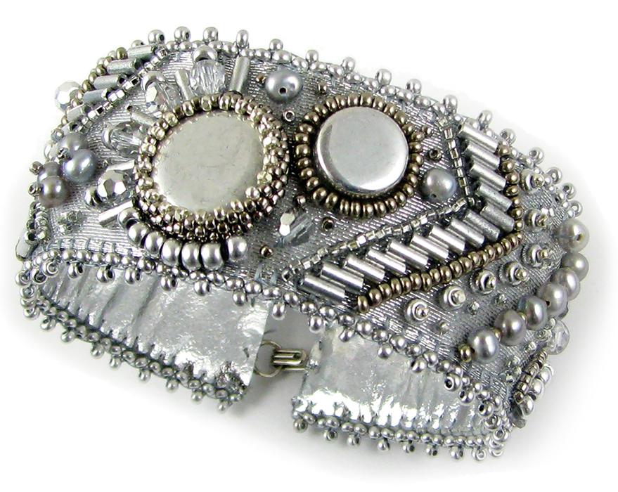 Scheherezade Bead Embroidery Kit Necklace By Lauren Miller Silver Streak Bracelet