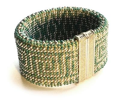 Chinese Frets Reversible Bead Crochet Bracelet