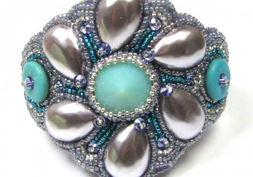 Iris Bead Embroidery Bracelet